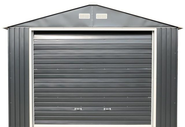 Imperial 12 ft Metal Garage Shed in Dark Grey with White Trim x 20 ft